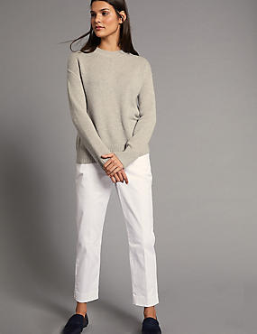Supima Cotton Rich Split Hem Trousers, SOFT WHITE, catlanding