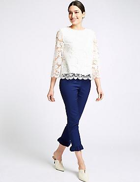 Cotton Blend Frill Hem Slim Leg Trousers , DARK MIDNIGHT, catlanding