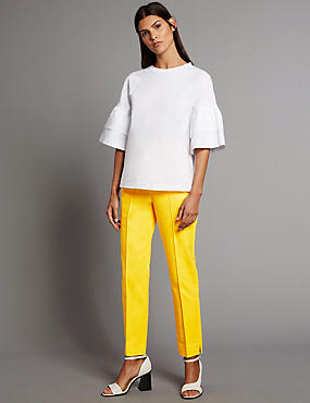 Cotton Rich Pintuck Slim Leg Trousers