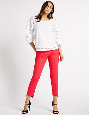 Cotton Blend Step Hem Slim Leg Trousers