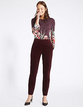 Cotton Rich Velvet Slim Leg Trousers