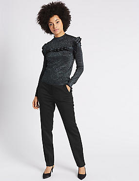 Jacquard Slim Leg Trousers