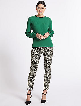 Cotton Rich Animal Print Trousers