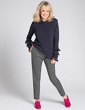 Dash Print Tapered Leg Trousers