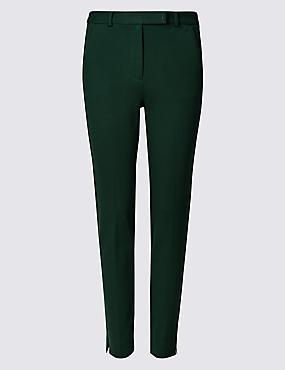Slim Leg Ankle Grazer Trousers, BOTTLE GREEN, catlanding