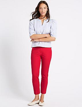 Cotton Blend Slim Leg Chelsea Trousers , GERANIUM, catlanding