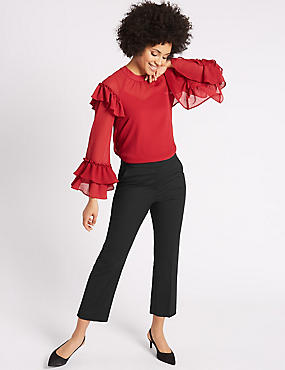Elastic Back Cropped Straight Leg Trousers