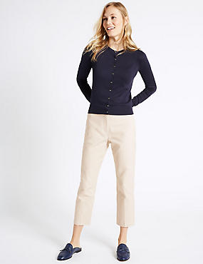 Cotton Rich Slim Leg Cropped Trousers