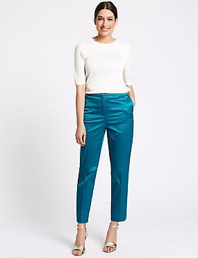 Cotton Rich Slim Leg Ankle Grazer Trousers, SEA GREEN, catlanding