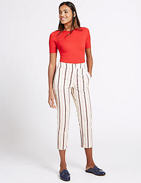 Cotton Rich Striped Slim Leg Trousers