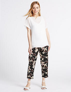 PETITE Cropped Straight Leg Trousers