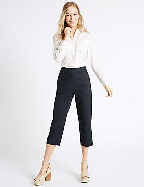 Cropped Slim Leg Trousers