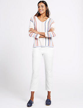 Cotton Rich Cropped Slim Leg Trousers