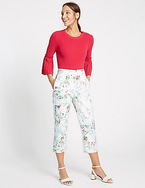 Floral Print Cropped Slim Leg Trousers