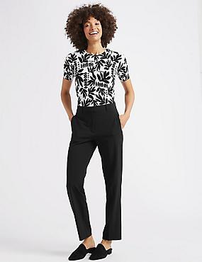 Straight Leg Trousers , BLACK, catlanding