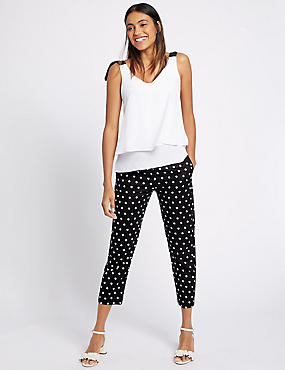 Cotton Rich Spotted Slim Leg Trousers