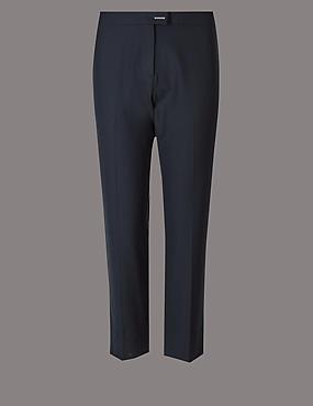 CURVE Wool Blend Slim Leg Trousers , NAVY, catlanding