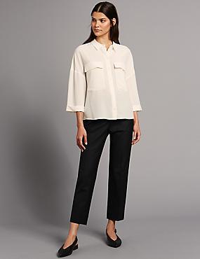 CURVE Wool Blend Slim Leg Trousers , BLACK, catlanding