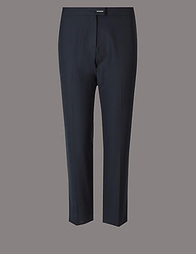 PETITE Wool & Silk Blend Trousers, NAVY, catlanding