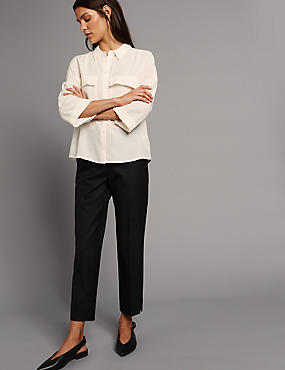 Wool Blend Slim Leg Trousers