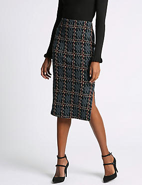Raised Checked Pencil Skirt