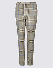 Checked Ankle Grazer Slim Leg Trousers