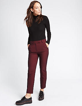 Cotton Blend Textured Slim Leg Trousers