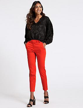 Cotton Rich Slim Leg 7/8th Crop Trousers, BRIGHT RED, catlanding