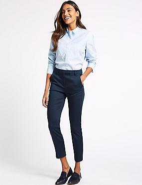 Cotton Rich Slim Leg 7/8th Crop Trousers, NAVY, catlanding