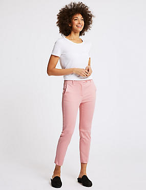 Cotton Rich Slim Leg 7/8th Crop Trousers, ROSE PINK, catlanding