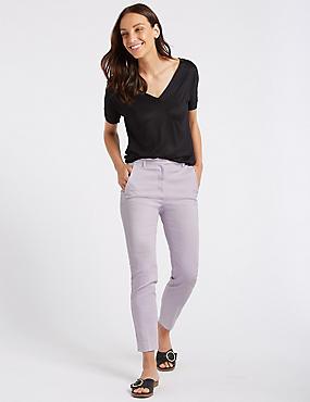 Cotton Rich Slim Leg 7/8th Crop Trousers, PALE LAVENDER, catlanding