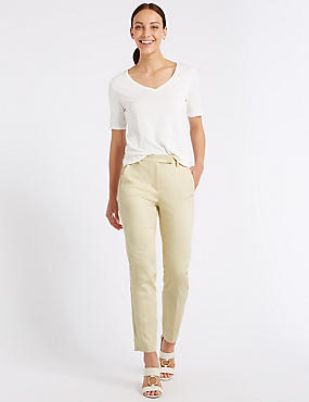 Cotton Rich Slim Leg 7/8th Crop Trousers, MAIZE, catlanding