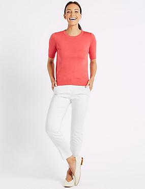 Cotton Rich Slim Leg 7/8th Crop Trousers, WINTER WHITE, catlanding