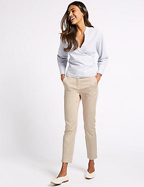 Cotton Rich Slim Leg 7/8th Crop Trousers, OYSTER, catlanding