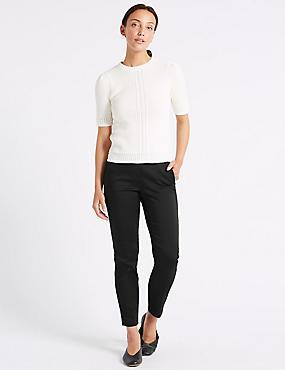 Cotton Rich Slim Leg 7/8th Crop Trousers, BLACK, catlanding