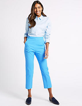 Cotton Rich Slim Leg Cropped Trousers , CORNFLOWER, catlanding