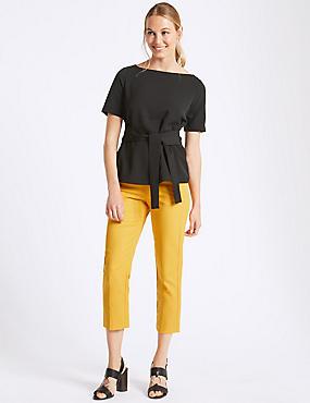 Cotton Rich Slim Leg Cropped Trousers , MANDARIN, catlanding