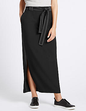 Tailored Fit Tie Maxi Skirt