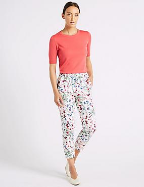 Cotton Rich Floral Print Slim Leg Trousers , IVORY MIX, catlanding