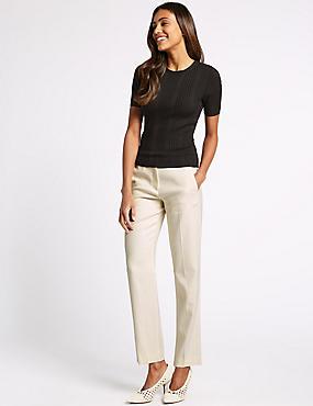 Linen Blend Straight Leg Trousers , CREAM, catlanding