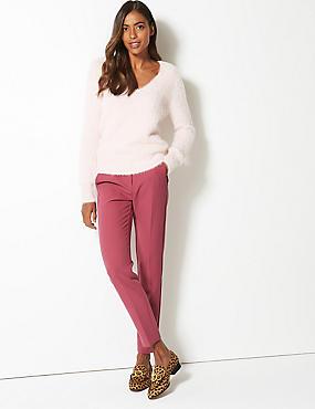 Slim Leg Trousers , PINK, catlanding