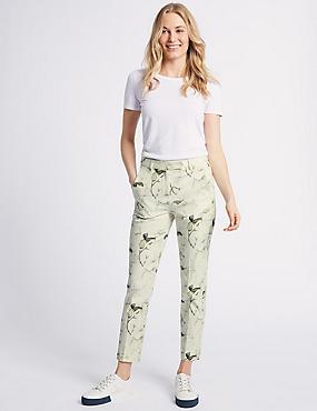 Cotton Blend Floral Ankle Grazer Trousers, MULTI/NEUTRAL, catlanding