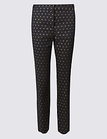 Metallic Jacquard Slim Leg Trousers