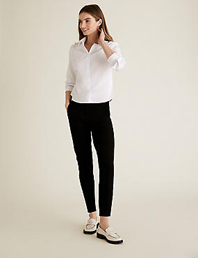 PETITE Cotton Blend Slim Leg Trousers, BLACK, catlanding