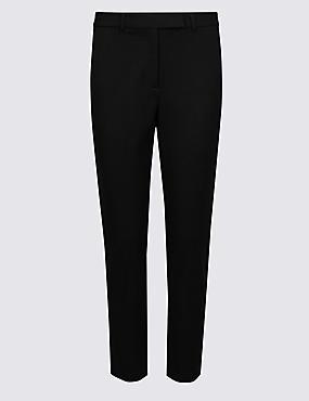 PETITE Cotton Blend Slim Leg Trousers, BLACK, catlanding