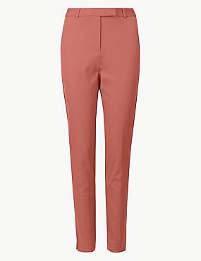Cotton Blend Ankle Grazer Trousers, TERRACOTTA, catlanding