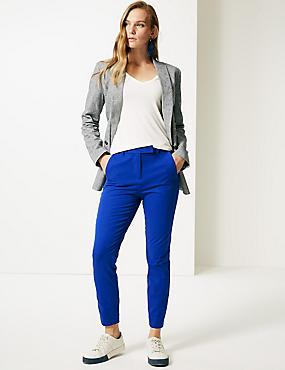 Cotton Blend 4 Way Stretch Ankle Grazer Trousers, ROYAL BLUE, catlanding