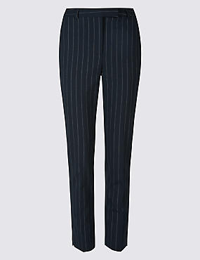 Striped Ankle Grazer Slim Leg Trousers