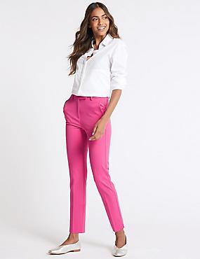 Ankle Grazer Slim Leg Trousers, HOT PINK, catlanding