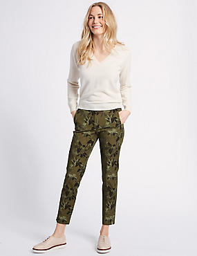 Cotton Blend Floral Ankle Grazer Trousers, GREEN MIX, catlanding